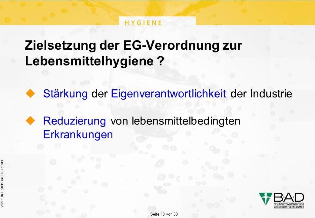 Seite 10 von 38 Vers.1.0/08.2005, © B·A·D GmbH Zielsetzung der EG-Verordnung zur Lebensmittelhygiene .