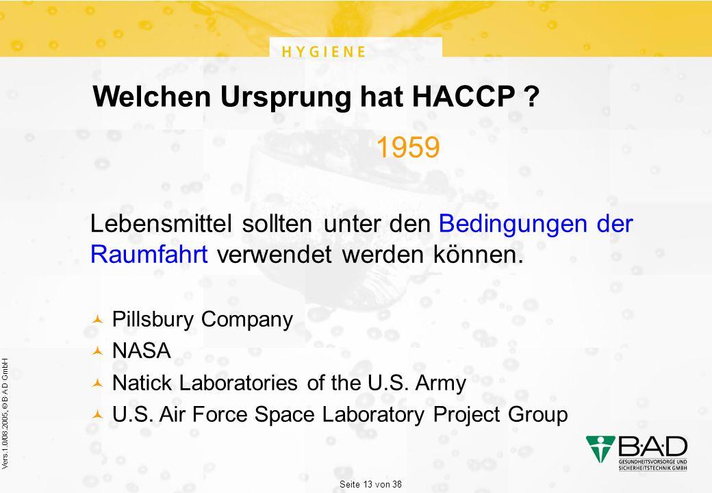 Seite 13 von 38 Vers.1.0/08.2005, © B·A·D GmbH Welchen Ursprung hat HACCP .