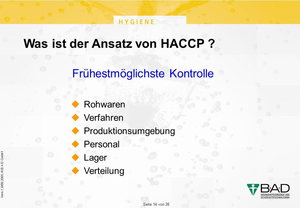 Seite 14 von 38 Vers.1.0/08.2005, © B·A·D GmbH Was ist der Ansatz von HACCP .
