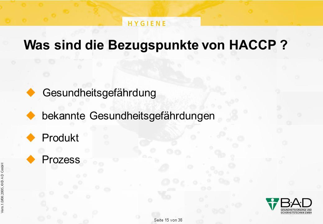 Seite 15 von 38 Vers.1.0/08.2005, © B·A·D GmbH Was sind die Bezugspunkte von HACCP .