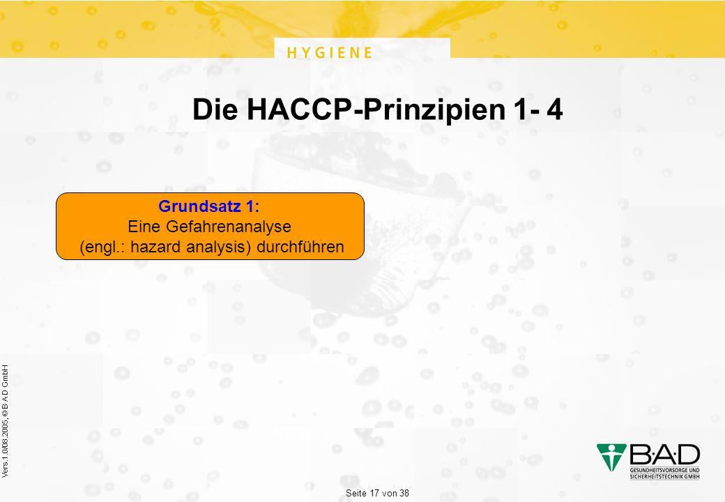 Seite 17 von 38 Vers.1.0/08.2005, © B·A·D GmbH Die HACCP-Prinzipien 1- 4 Grundsatz 1: Eine Gefahrenanalyse (engl.: hazard analysis) durchführen