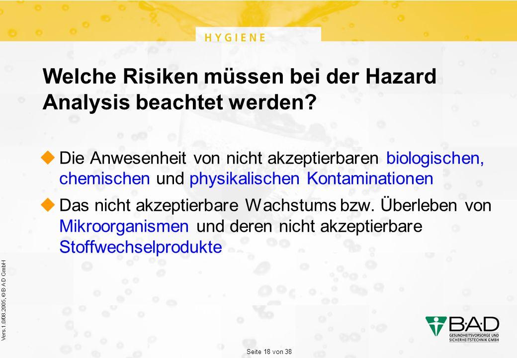 Seite 18 von 38 Vers.1.0/08.2005, © B·A·D GmbH Welche Risiken müssen bei der Hazard Analysis beachtet werden.
