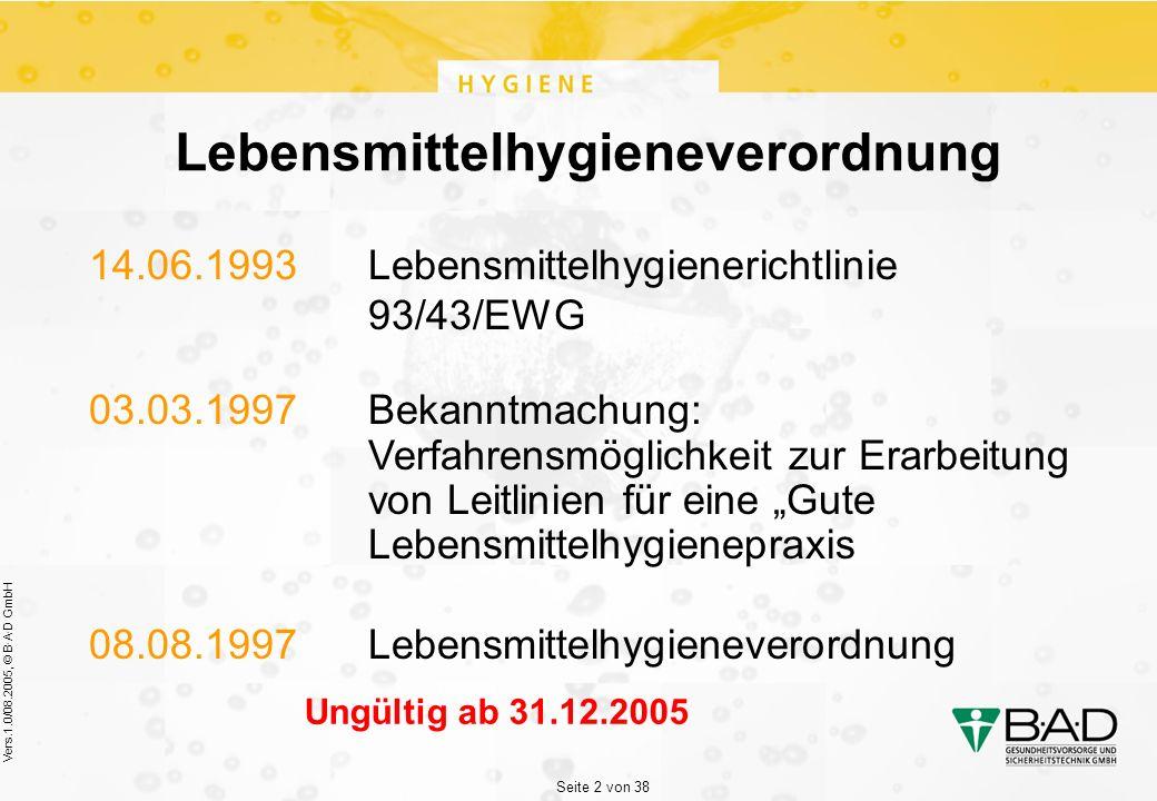 """Seite 2 von 38 Vers.1.0/08.2005, © B·A·D GmbH Lebensmittelhygieneverordnung 14.06.1993Lebensmittelhygienerichtlinie 93/43/EWG 03.03.1997Bekanntmachung: Verfahrensmöglichkeit zur Erarbeitung von Leitlinien für eine """"Gute Lebensmittelhygienepraxis 08.08.1997Lebensmittelhygieneverordnung Ungültig ab 31.12.2005"""