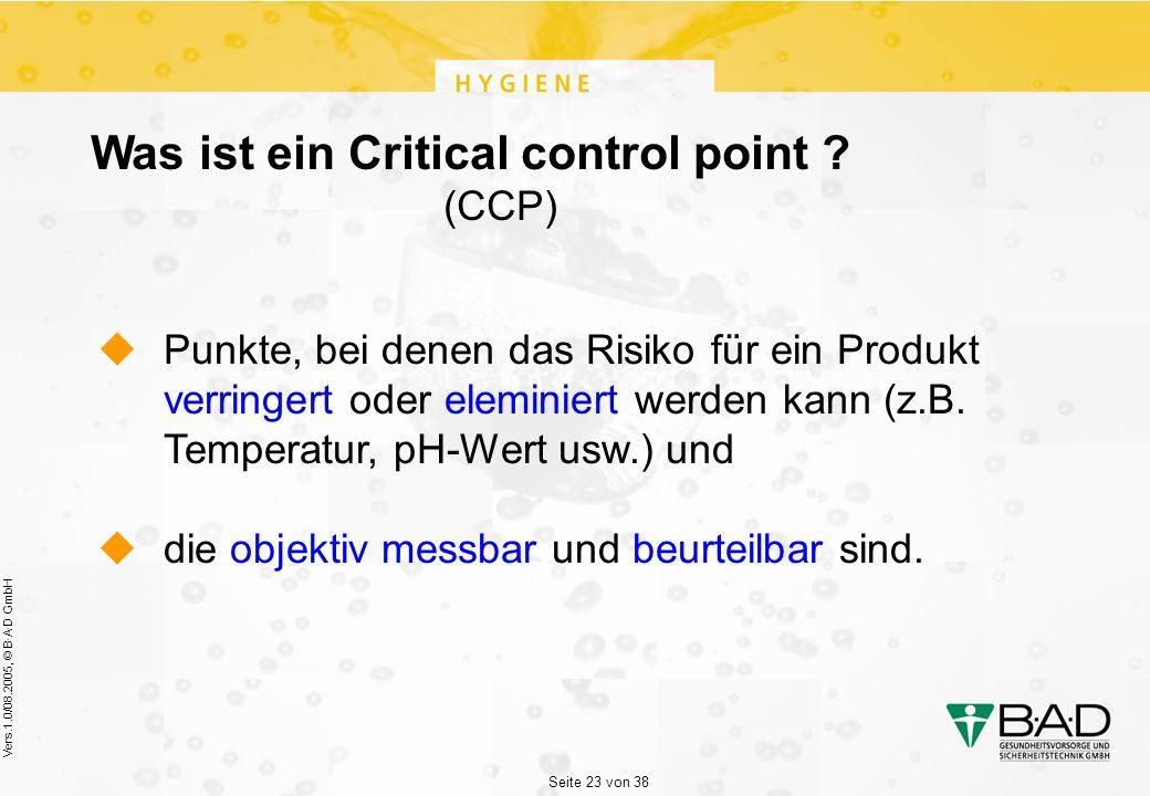 Seite 23 von 38 Vers.1.0/08.2005, © B·A·D GmbH Was ist ein Critical control point .