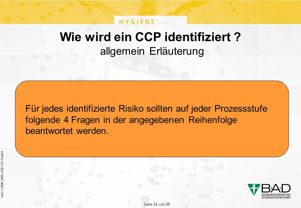 Seite 24 von 38 Vers.1.0/08.2005, © B·A·D GmbH Wie wird ein CCP identifiziert .