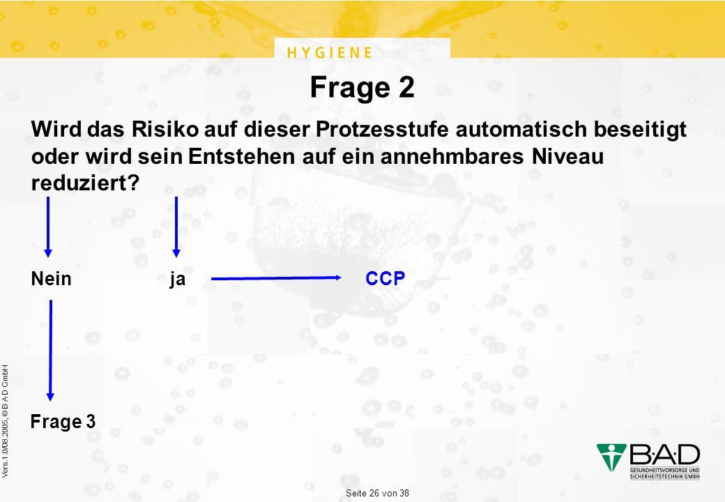 Seite 26 von 38 Vers.1.0/08.2005, © B·A·D GmbH Frage 2 Wird das Risiko auf dieser Protzesstufe automatisch beseitigt oder wird sein Entstehen auf ein annehmbares Niveau reduziert.