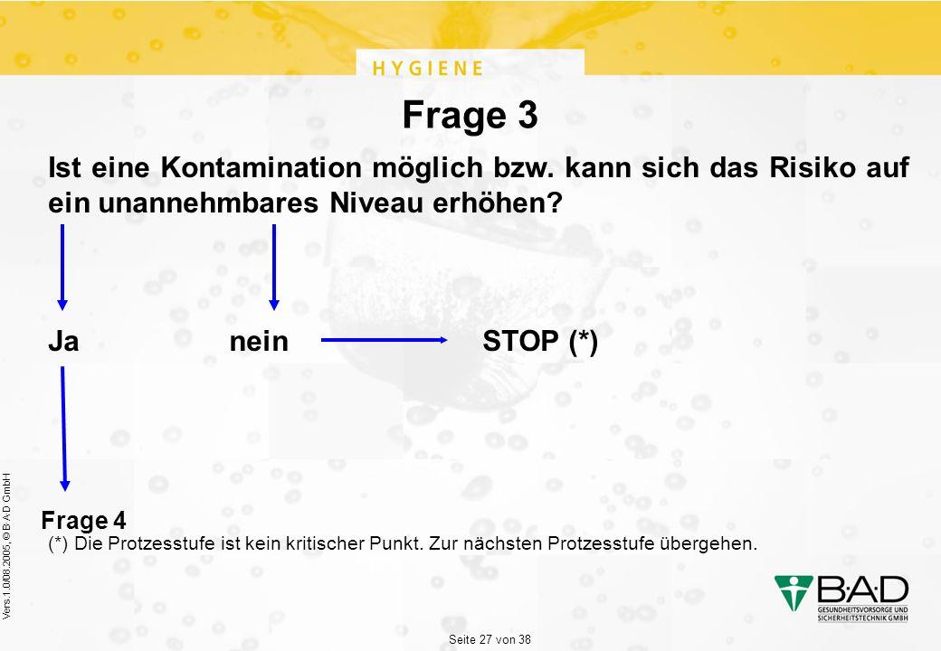 Seite 27 von 38 Vers.1.0/08.2005, © B·A·D GmbH Frage 3 Ist eine Kontamination möglich bzw.