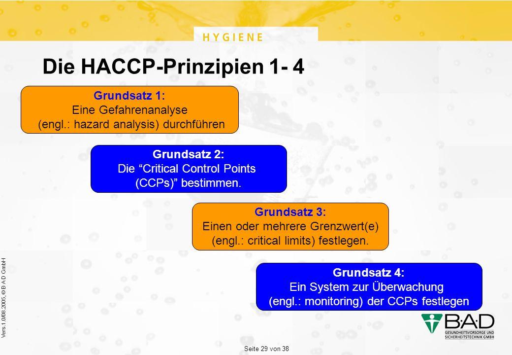 Seite 29 von 38 Vers.1.0/08.2005, © B·A·D GmbH Die HACCP-Prinzipien 1- 4 Grundsatz 1: Eine Gefahrenanalyse (engl.: hazard analysis) durchführen Grundsatz 4: Ein System zur Überwachung (engl.: monitoring) der CCPs festlegen Grundsatz 2: Die Critical Control Points (CCPs) bestimmen.