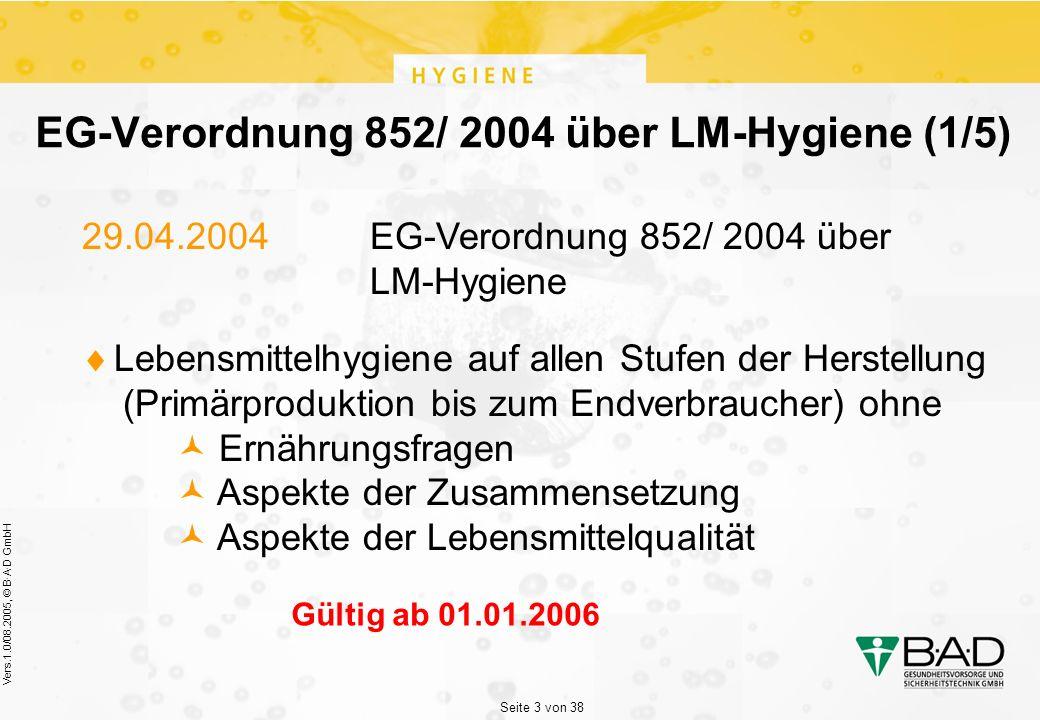Seite 3 von 38 Vers.1.0/08.2005, © B·A·D GmbH EG-Verordnung 852/ 2004 über LM-Hygiene (1/5) 29.04.2004 EG-Verordnung 852/ 2004 über LM-Hygiene  Lebensmittelhygiene auf allen Stufen der Herstellung (Primärproduktion bis zum Endverbraucher) ohne Ernährungsfragen Aspekte der Zusammensetzung Aspekte der Lebensmittelqualität Gültig ab 01.01.2006