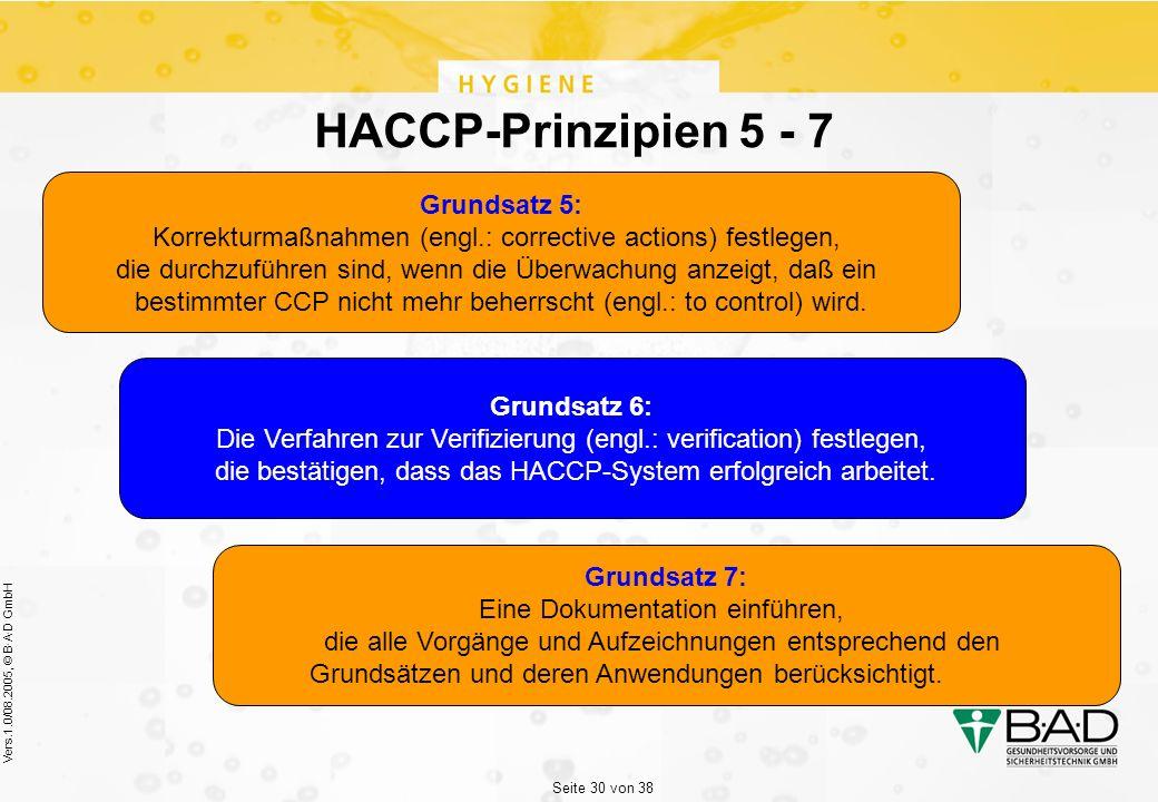 Seite 30 von 38 Vers.1.0/08.2005, © B·A·D GmbH HACCP-Prinzipien 5 - 7 Grundsatz 5: Korrekturmaßnahmen (engl.: corrective actions) festlegen, die durchzuführen sind, wenn die Überwachung anzeigt, daß ein bestimmter CCP nicht mehr beherrscht (engl.: to control) wird.