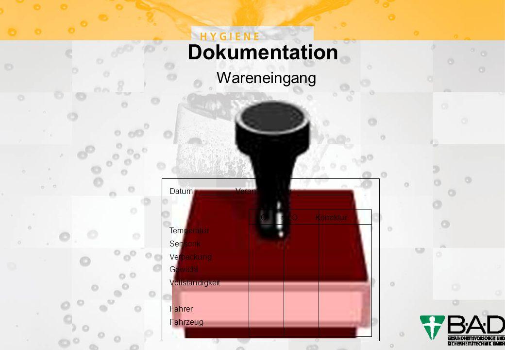 Dokumentation Wareneingang Datum : ________ Verantwortlicher : ____________ i.O.n.i.O.Korrektur Temperatur Sensorik Verpackung Gewicht Vollständigkeit Fahrer Fahrzeug