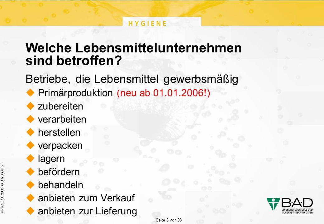 Seite 8 von 38 Vers.1.0/08.2005, © B·A·D GmbH Welche Lebensmittelunternehmen sind betroffen.