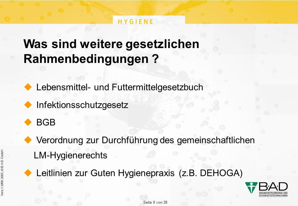 Seite 9 von 38 Vers.1.0/08.2005, © B·A·D GmbH Was sind weitere gesetzlichen Rahmenbedingungen .