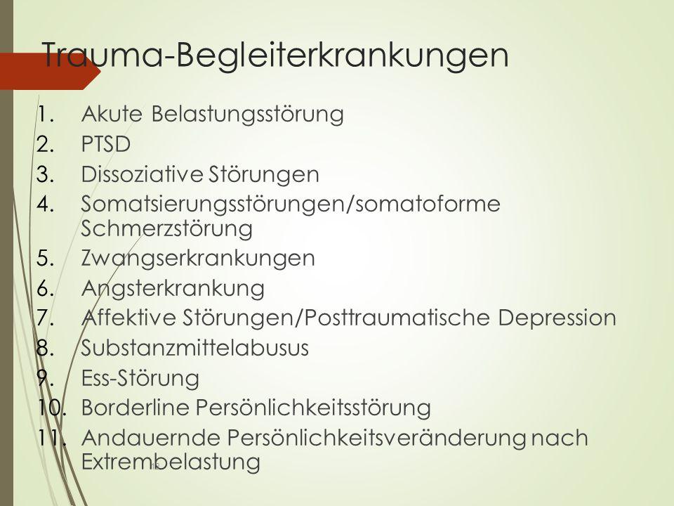 Trauma-Begleiterkrankungen 1.Akute Belastungsstörung 2.PTSD 3.Dissoziative Störungen 4.Somatsierungsstörungen/somatoforme Schmerzstörung 5.Zwangserkrankungen 6.Angsterkrankung 7.Affektive Störungen/Posttraumatische Depression 8.Substanzmittelabusus 9.Ess-Störung 10.Borderline Persönlichkeitsstörung 11.Andauernde Persönlichkeitsveränderung nach Extrembelastung 13