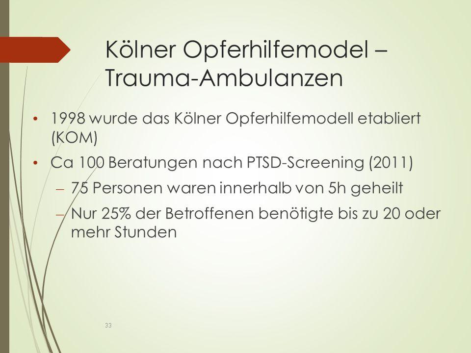 Kölner Opferhilfemodel – Trauma-Ambulanzen 1998 wurde das Kölner Opferhilfemodell etabliert (KOM) Ca 100 Beratungen nach PTSD-Screening (2011) – 75 Personen waren innerhalb von 5h geheilt – Nur 25% der Betroffenen benötigte bis zu 20 oder mehr Stunden 33