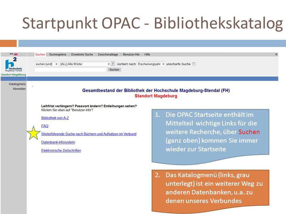 1.Die OPAC Startseite enthält im Mittelteil wichtige Links für die weitere Recherche, über Suchen (ganz oben) kommen Sie immer wieder zur Startseite 2.Das Katalogmenü (links, grau unterlegt) ist ein weiterer Weg zu anderen Datenbanken, u.a.