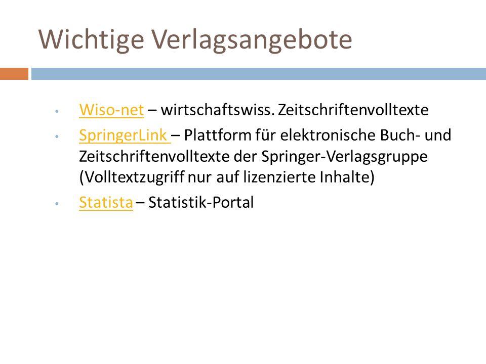 Wichtige Verlagsangebote Wiso-net – wirtschaftswiss.