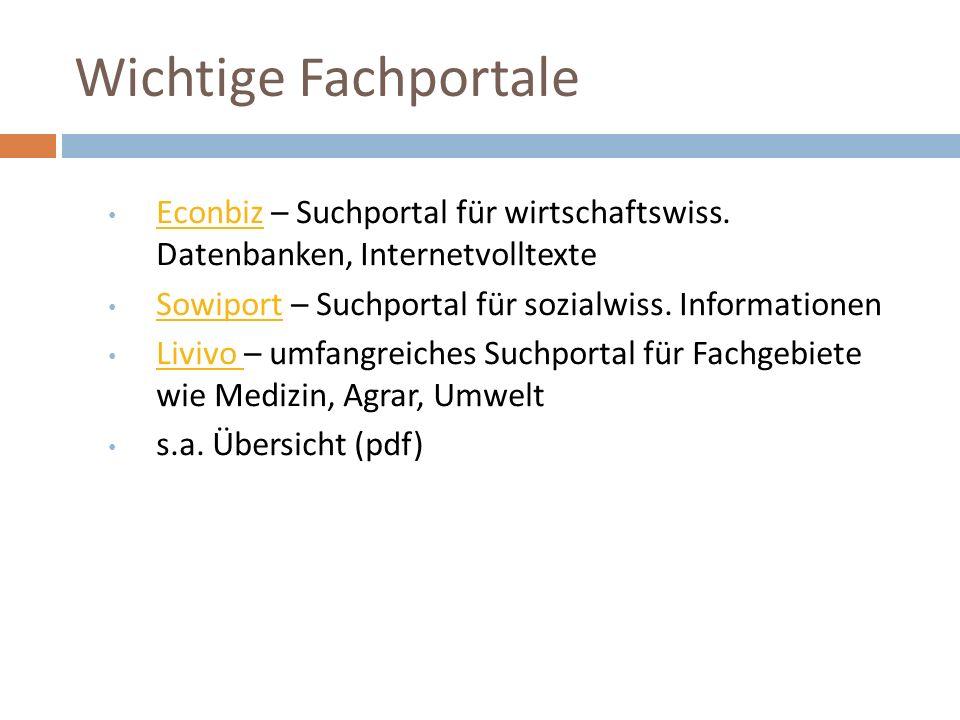 Wichtige Fachportale Econbiz – Suchportal für wirtschaftswiss.