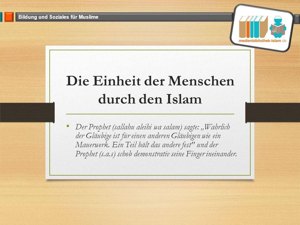 """Bildung und Soziales für Muslime Die Einheit der Menschen durch den Islam Der Prophet (sallahu aleihi wa salam) sagte: """"Wahrlich der Gläubige ist für einen anderen Gläubigen wie ein Mauerwerk."""