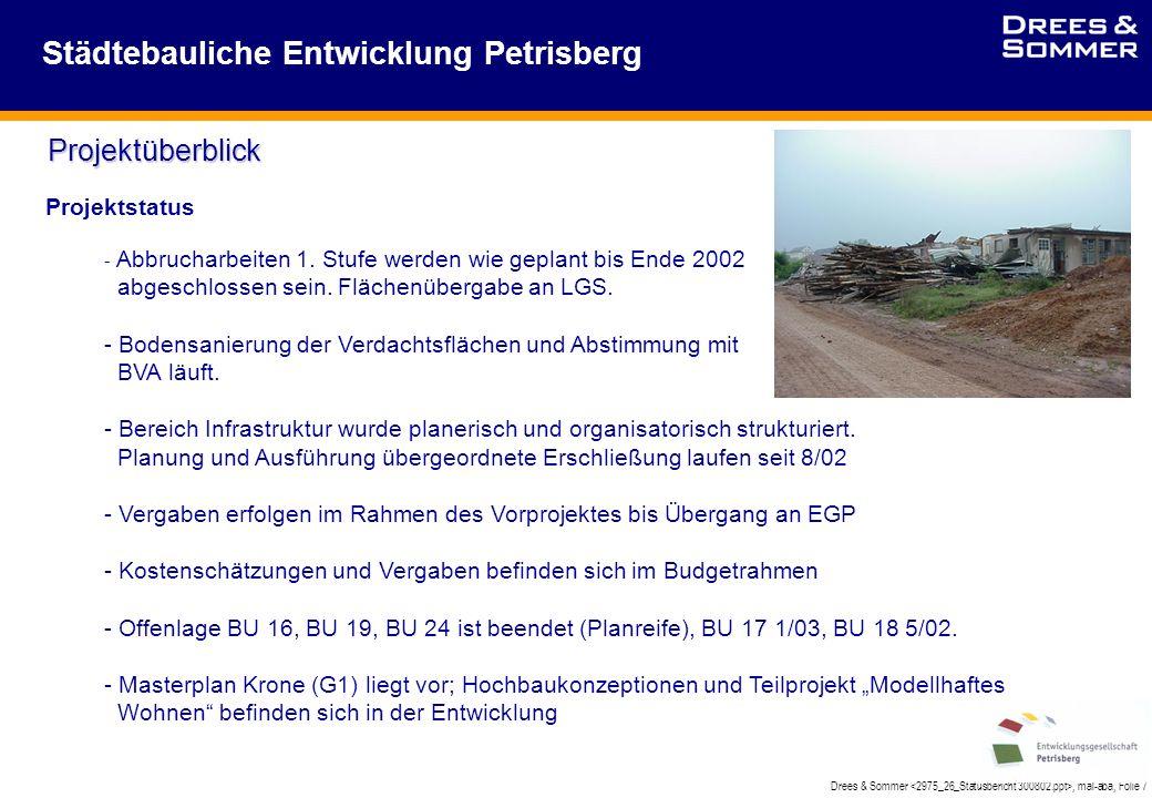 Drees & Sommer, mal-aba, Folie 7 Städtebauliche Entwicklung Petrisberg Projektüberblick Projektstatus - Abbrucharbeiten 1.