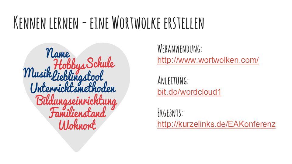 Kennen lernen - eine Wortwolke erstellen Webanwendung: http://www.wortwolken.com/ Anleitung: bit.do/wordcloud1 Ergebnis: http://kurzelinks.de/EAKonferenz