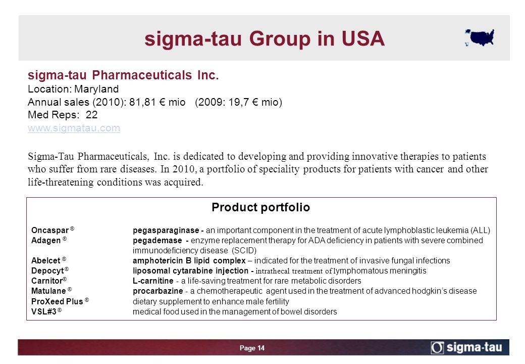 Page 14 sigma-tau Pharmaceuticals Inc.