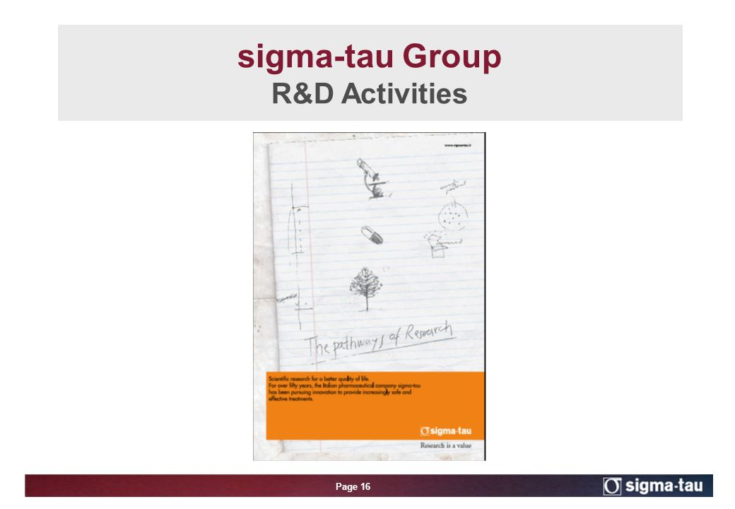 Page 16 sigma-tau Group R&D Activities