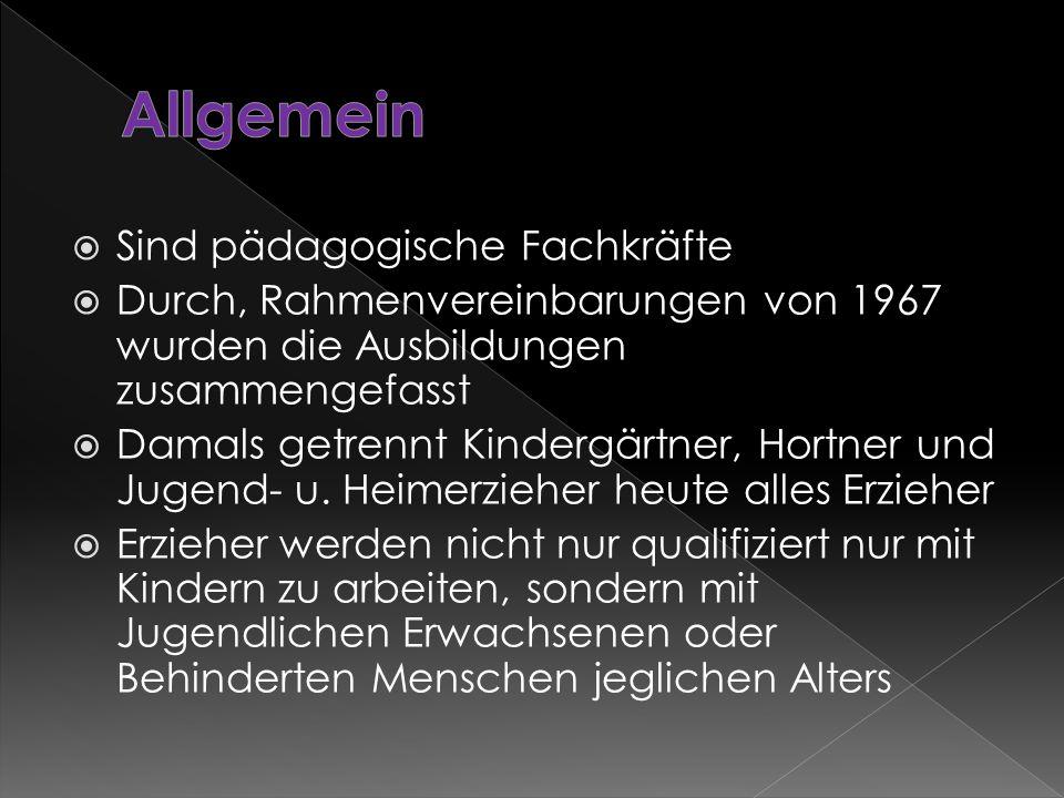  Sind pädagogische Fachkräfte  Durch, Rahmenvereinbarungen von 1967 wurden die Ausbildungen zusammengefasst  Damals getrennt Kindergärtner, Hortner und Jugend- u.