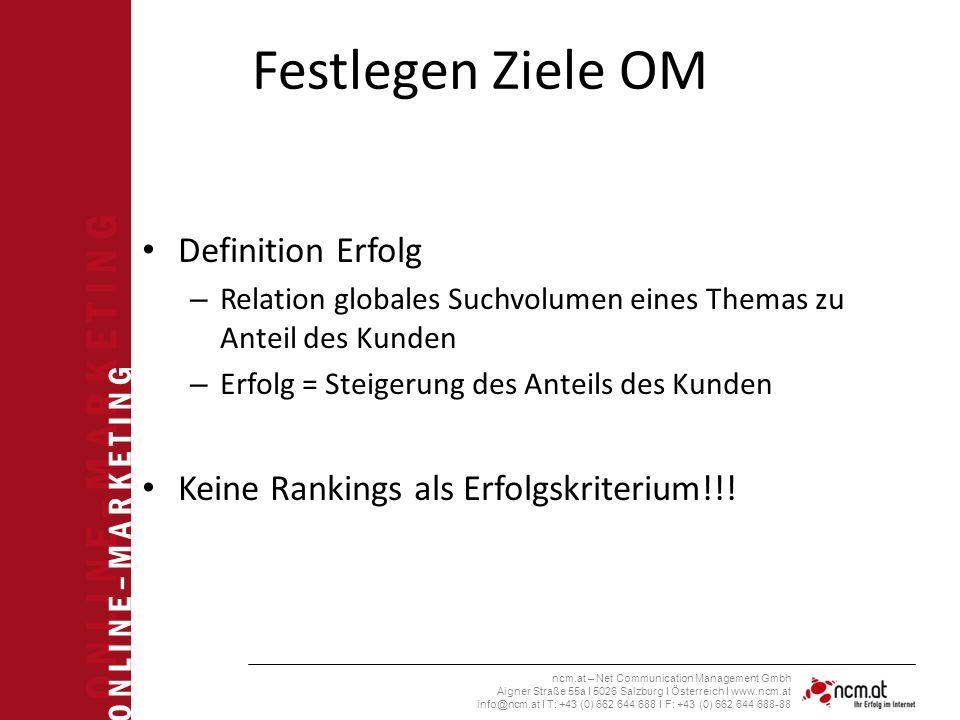 O N L I N E – M A R K E T I N G ncm.at – Net Communication Management Gmbh Aigner Straße 55a I 5026 Salzburg I Österreich I www.ncm.at info@ncm.at I T: +43 (0) 662 644 688 I F: +43 (0) 662 644 688-88 Festlegen Ziele OM Definition Erfolg – Relation globales Suchvolumen eines Themas zu Anteil des Kunden – Erfolg = Steigerung des Anteils des Kunden Keine Rankings als Erfolgskriterium!!!