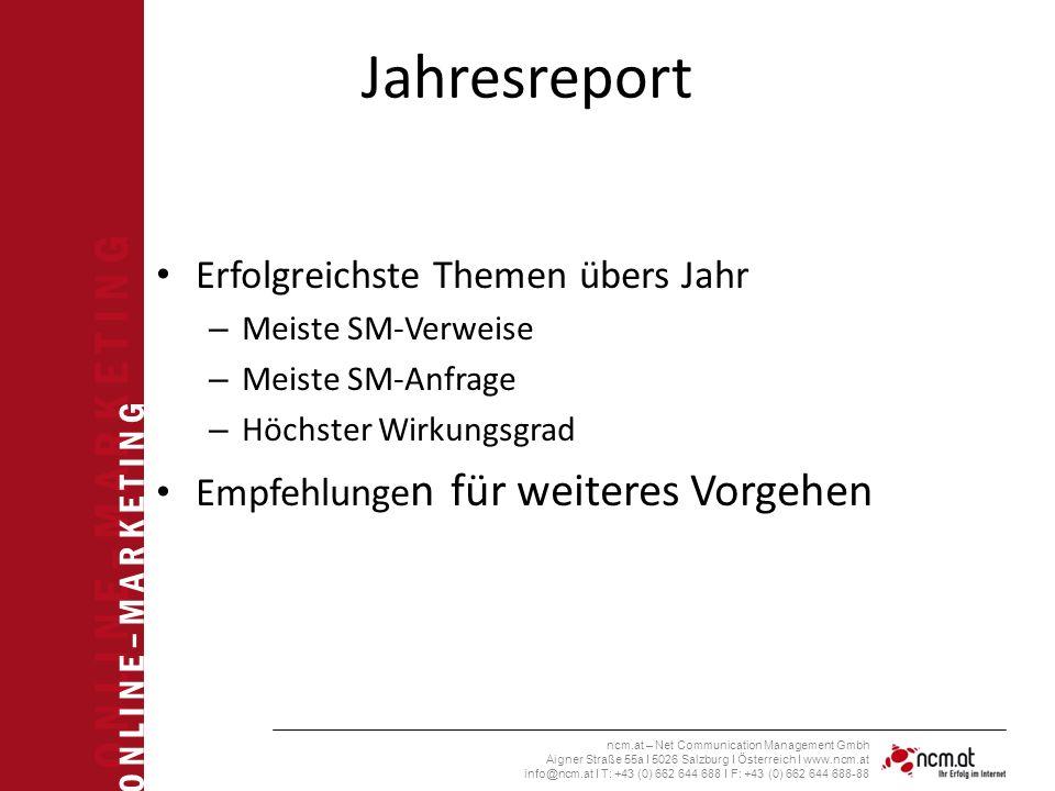 O N L I N E – M A R K E T I N G ncm.at – Net Communication Management Gmbh Aigner Straße 55a I 5026 Salzburg I Österreich I www.ncm.at info@ncm.at I T: +43 (0) 662 644 688 I F: +43 (0) 662 644 688-88 Jahresreport Erfolgreichste Themen übers Jahr – Meiste SM-Verweise – Meiste SM-Anfrage – Höchster Wirkungsgrad Empfehlunge n für weiteres Vorgehen
