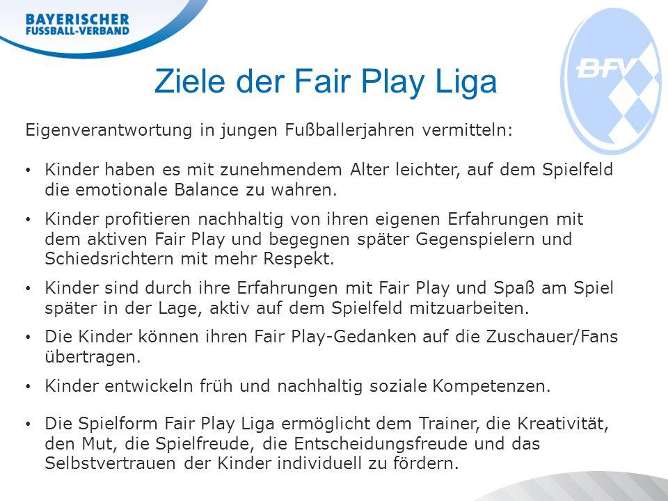 Ziele der Fair Play Liga Eigenverantwortung in jungen Fußballerjahren vermitteln: Kinder haben es mit zunehmendem Alter leichter, auf dem Spielfeld die emotionale Balance zu wahren.