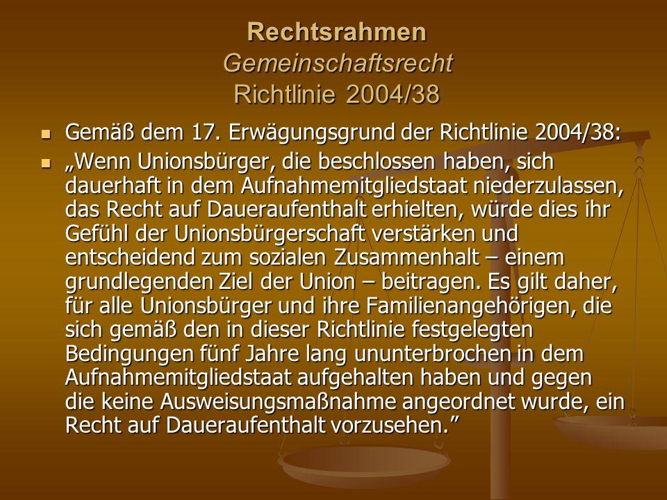 Rechtsrahmen Gemeinschaftsrecht Richtlinie 2004/38 Rechtsrahmen Gemeinschaftsrecht Richtlinie 2004/38 Gemäß dem 17.