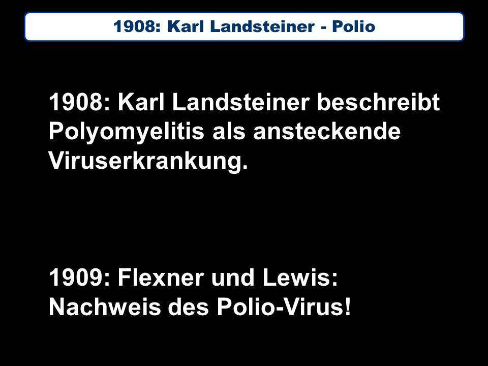1908: Karl Landsteiner beschreibt Polyomyelitis als ansteckende Viruserkrankung.
