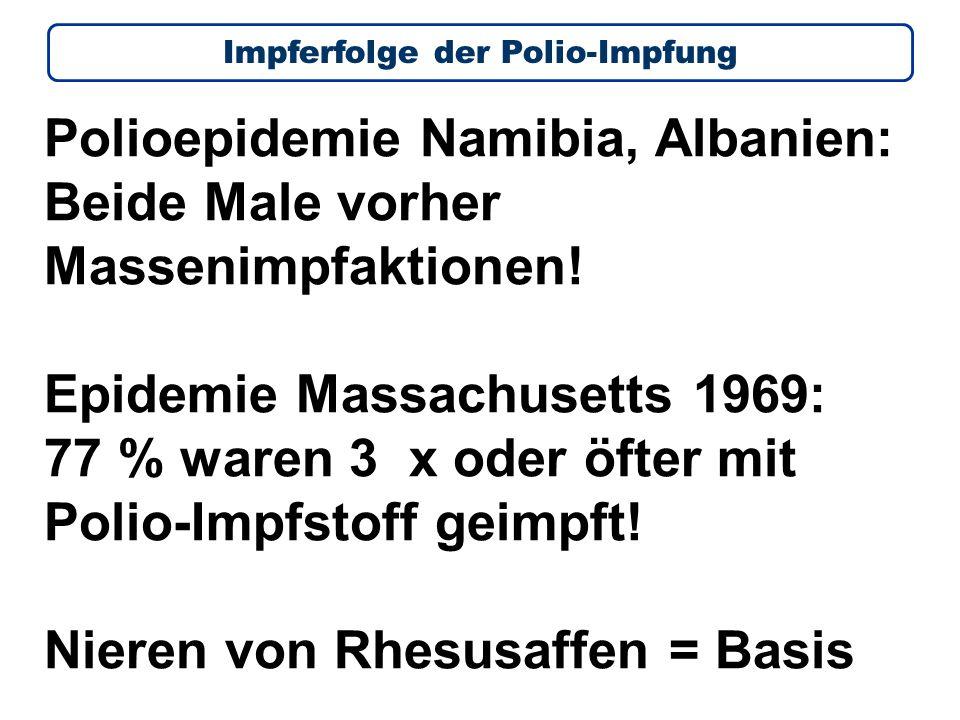 Polioepidemie Namibia, Albanien: Beide Male vorher Massenimpfaktionen.