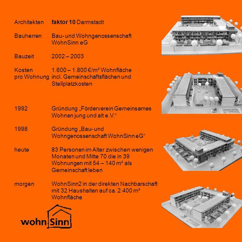Architekten faktor 10 Darmstadt Bauherren Bau- und Wohngenossenschaft WohnSinn eG Bauzeit 2002 – 2003 Kosten 1.600 – 1.800 €/m² Wohnfläche pro Wohnung incl.