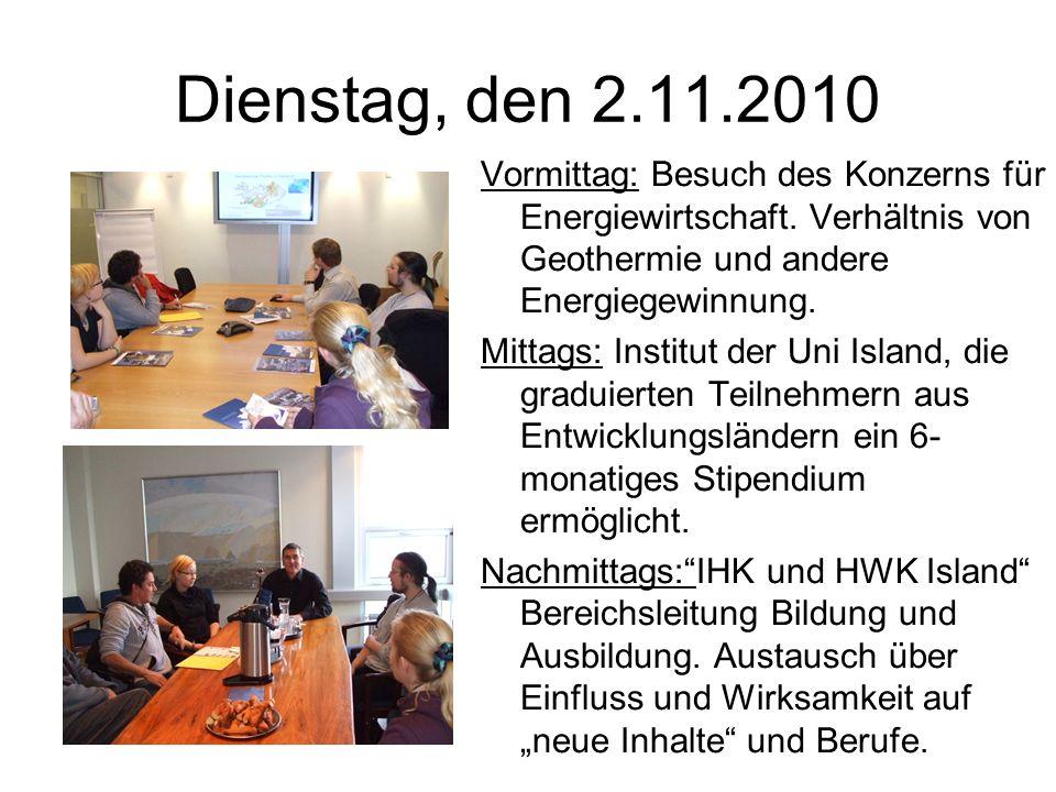 Dienstag, den 2.11.2010 Vormittag: Besuch des Konzerns für Energiewirtschaft.