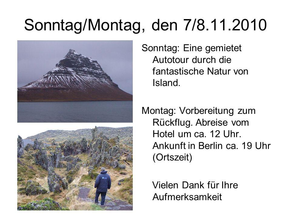 Sonntag/Montag, den 7/8.11.2010 Sonntag: Eine gemietet Autotour durch die fantastische Natur von Island.