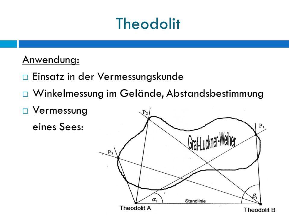 Theodolit Anwendung:  Einsatz in der Vermessungskunde  Winkelmessung im Gelände, Abstandsbestimmung  Vermessung eines Sees:
