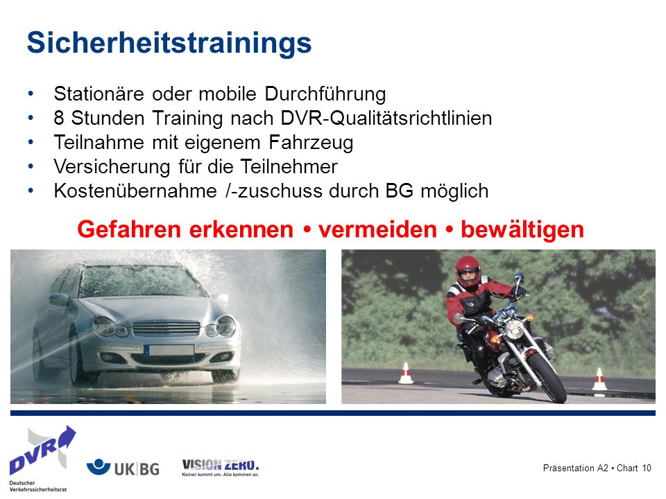 Präsentation A2 Chart 10 Stationäre oder mobile Durchführung 8 Stunden Training nach DVR-Qualitätsrichtlinien Teilnahme mit eigenem Fahrzeug Versicherung für die Teilnehmer Kostenübernahme /-zuschuss durch BG möglich Gefahren erkennen vermeiden bewältigen Sicherheitstrainings