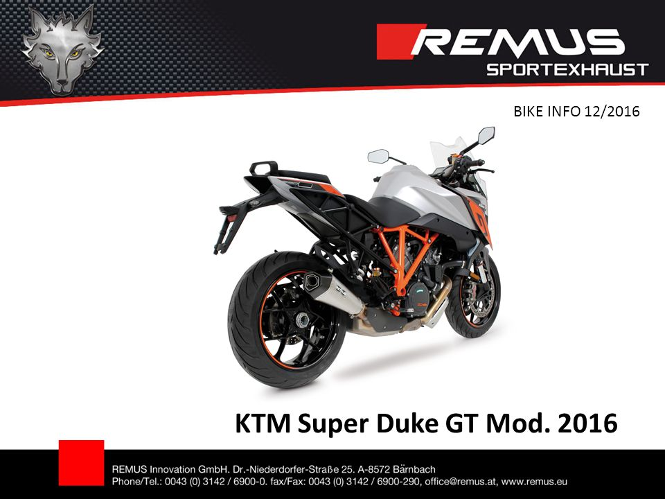 KTM Super Duke GT Mod. 2016 BIKE INFO 12/2016