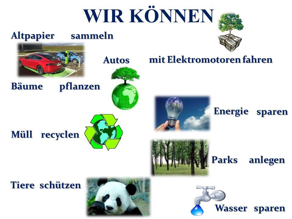 WIR KÖNNEN Altpapier recyclen Parks Wasser Tiere Energie Bäume Müll Autos anlegen sparen pflanzen sammeln mitElektromotorenfahren mit Elektromotoren fahren schützen sparen