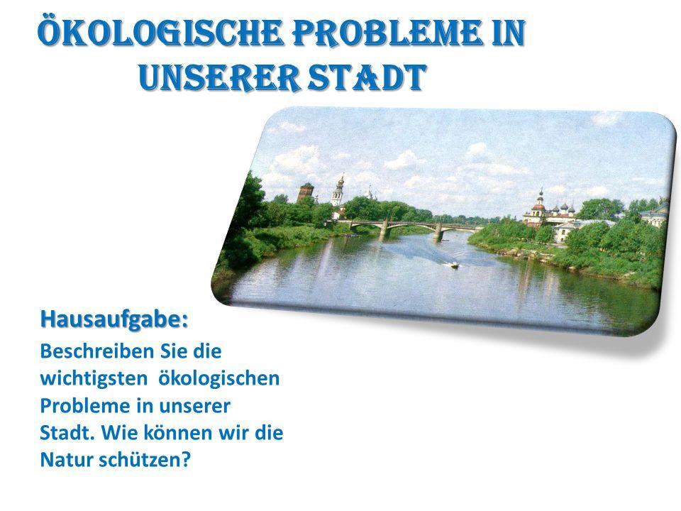 Ökologische Probleme in unserer Stadt Hausaufgabe: Beschreiben Sie die wichtigsten ökologischen Probleme in unserer Stadt.