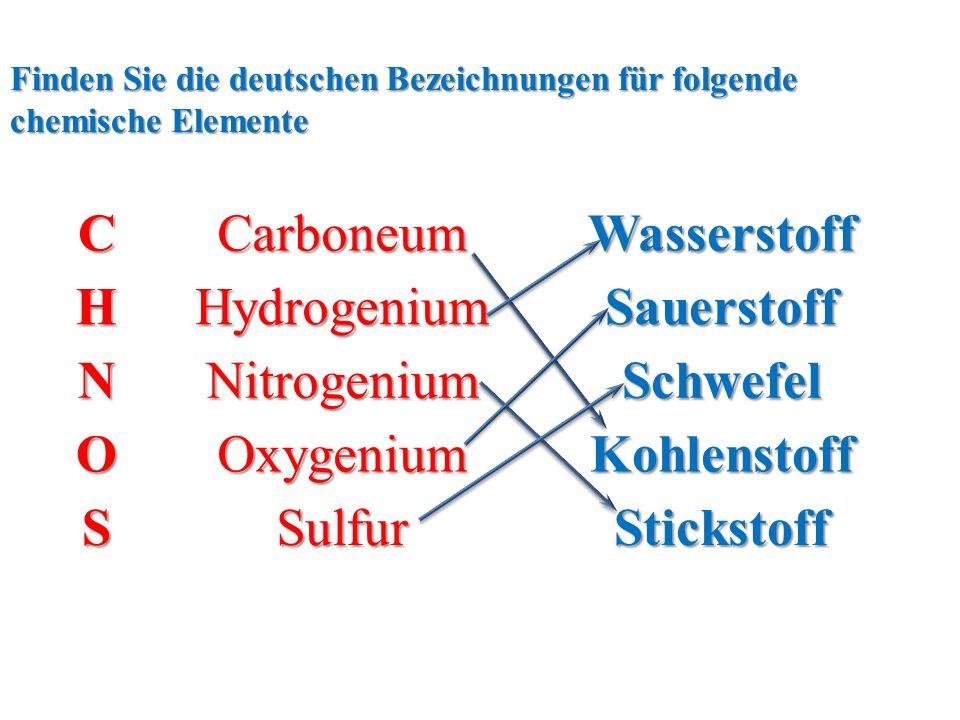 CCarboneumWasserstoffHHydrogeniumSauerstoff NNitrogeniumSchwefel OOxygeniumKohlenstoff SSulfurStickstoff Finden Sie die deutschen Bezeichnungen für folgende chemische Elemente