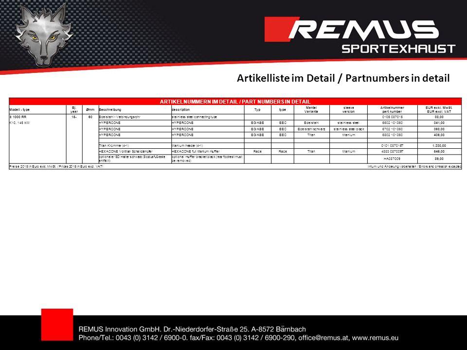 Artikelliste im Detail / Partnumbers in detail ARTIKELNUMMERN IM DETAIL / PART NUMBERS IN DETAIL Modell - type Bj.
