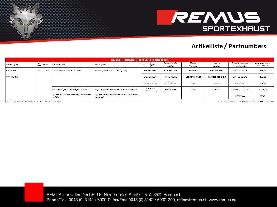 Artikelliste / Partnumbers ARTIKELNUMMERN / PART NUMBERS Modell - type Bj.