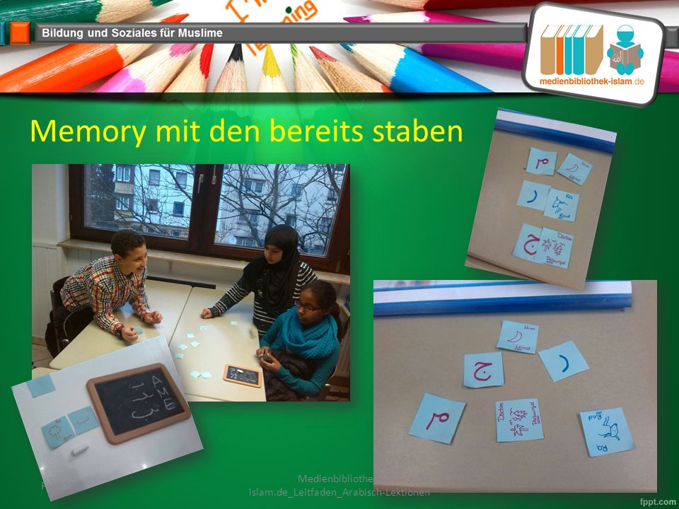 Memory mit den bereits staben Feb. 2015 Medienbibliothek- islam.de_Leitfaden_Arabisch-Lektionen