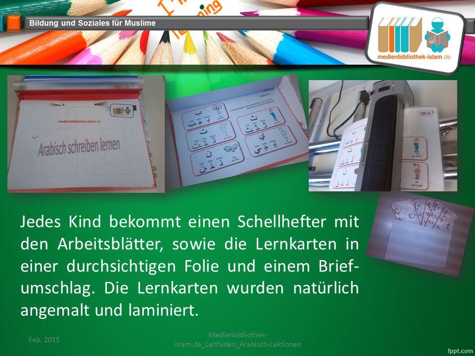 Jedes Kind bekommt einen Schellhefter mit den Arbeitsblätter, sowie die Lernkarten in einer durchsichtigen Folie und einem Brief- umschlag.