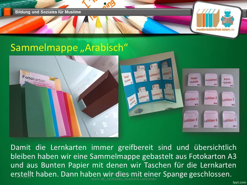 """Sammelmappe """"Arabisch Damit die Lernkarten immer greifbereit sind und übersichtlich bleiben haben wir eine Sammelmappe gebastelt aus Fotokarton A3 und aus Bunten Papier mit denen wir Taschen für die Lernkarten erstellt haben."""