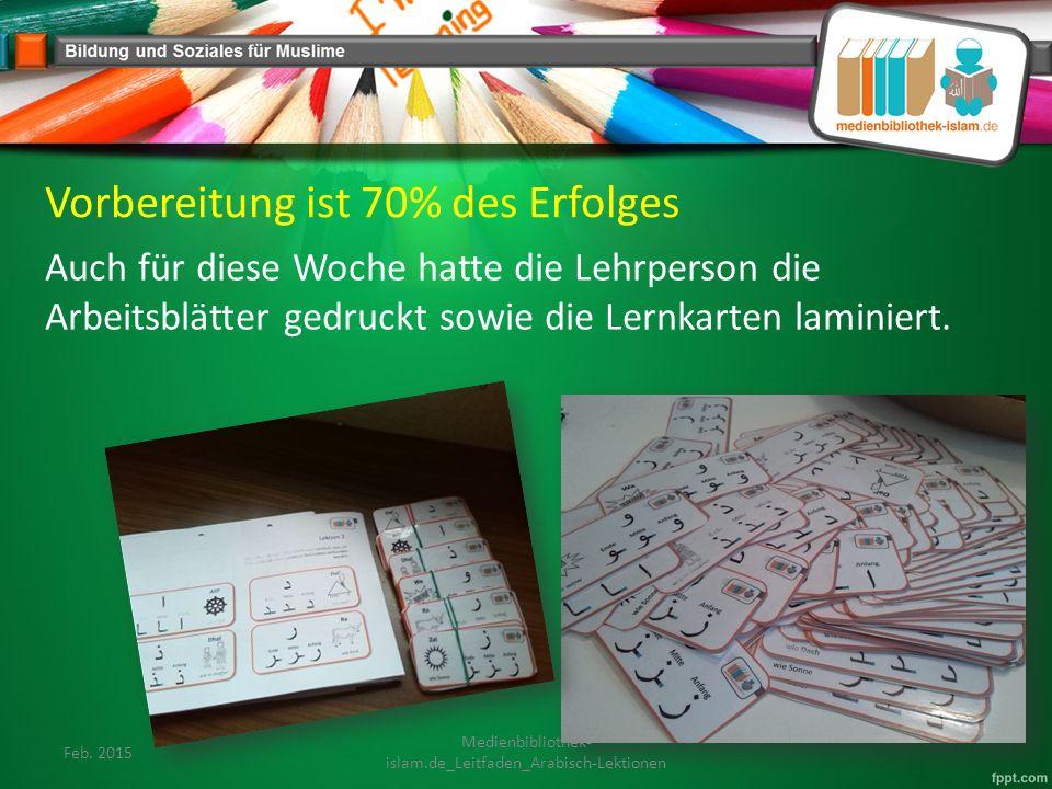 Vorbereitung ist 70% des Erfolges Auch für diese Woche hatte die Lehrperson die Arbeitsblätter gedruckt sowie die Lernkarten laminiert.