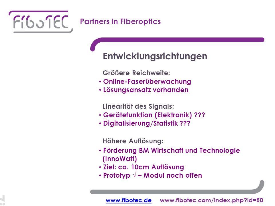Ziel: cm-Auflösung Partners in Fiberoptics Entwicklungsrichtungen Förderung BM Wirtschaft und Technologie (InnoWatt) Ziel: ca.
